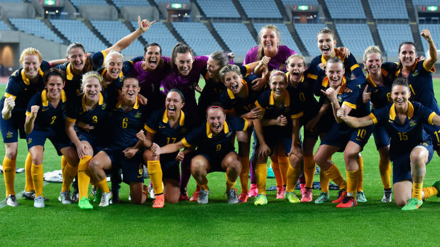 The Westfield Matildas celebrate qualifying for the Rio Games after their win over DPR Korea.