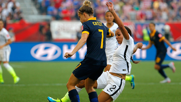 Steph Catley in action against the USA.