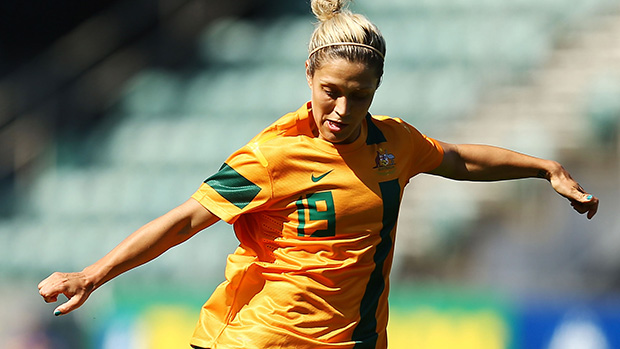 Westfield Matildas' Katrina Gorry fires a shot from distance.