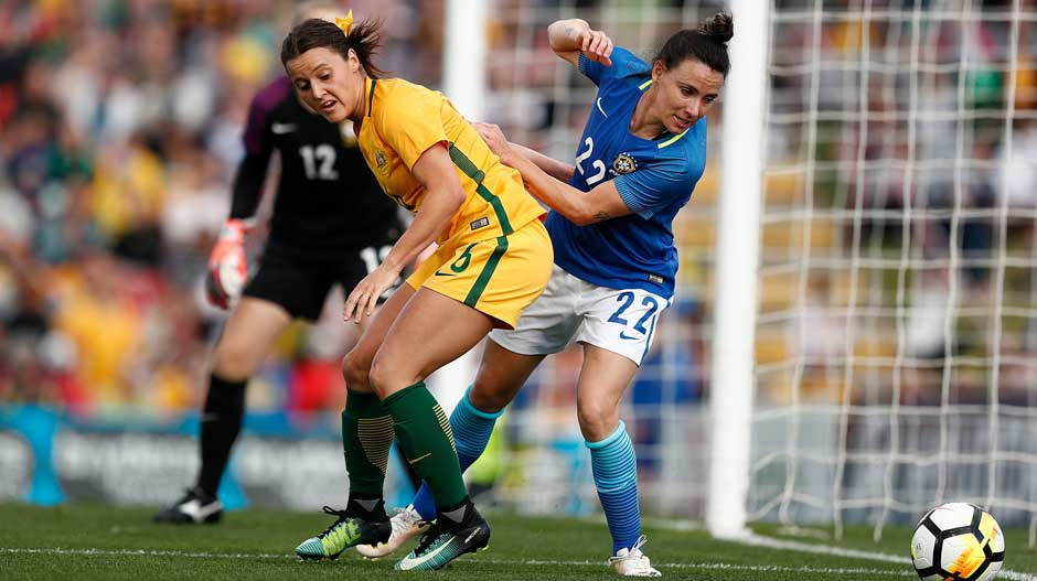 Westfield Matildas defender Hayley Raso fights for possession.