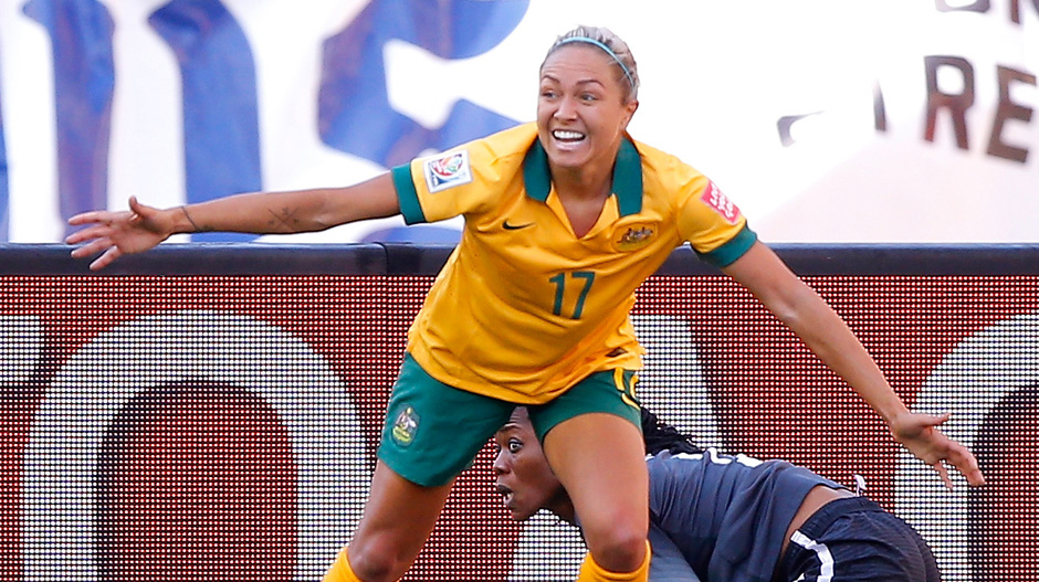 Kyah Simon celebrates one of her two goals against Nigeria.