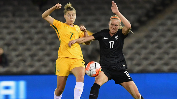 Steph Catley in action for Australia against NZ in a friendly in June.