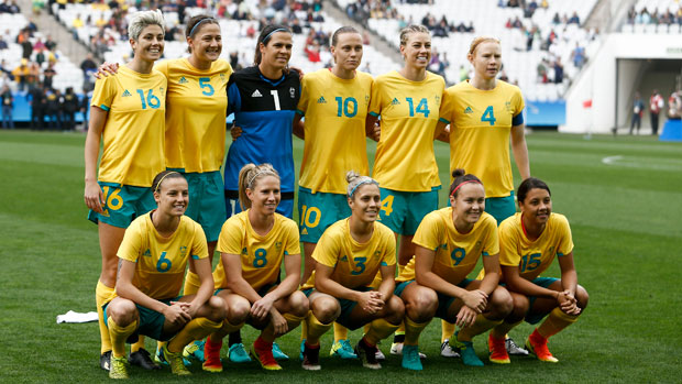 Australian Women's Football Team starting XI against Canada at the Games.