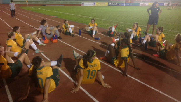 Young Matildas warm-down