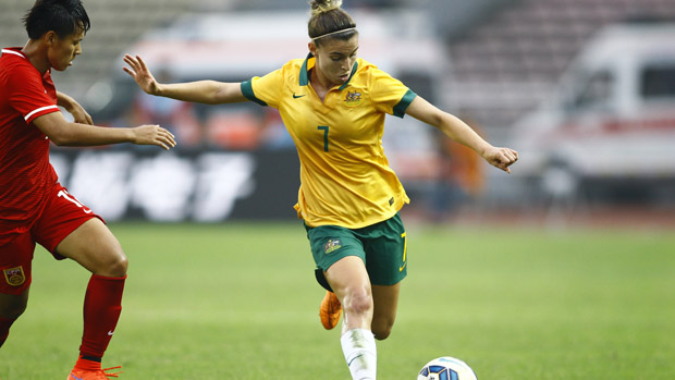 Steph Catley on the ball against China PR.