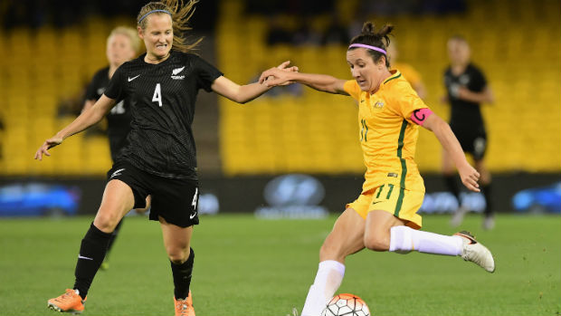 Westfield Matildas co-captain Lisa De Vanna has a shot at goal against the Football Ferns at Etihad Stadium.