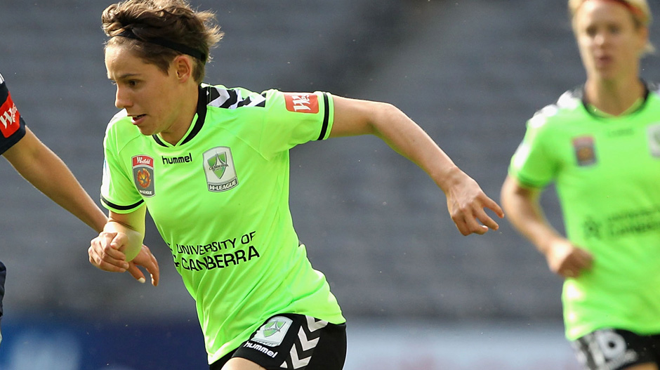 Ash Sykes in action for Canberra United.