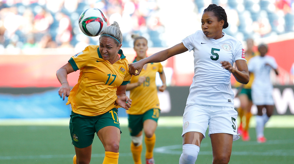 Kyah Simon on the ball against Nigeria.