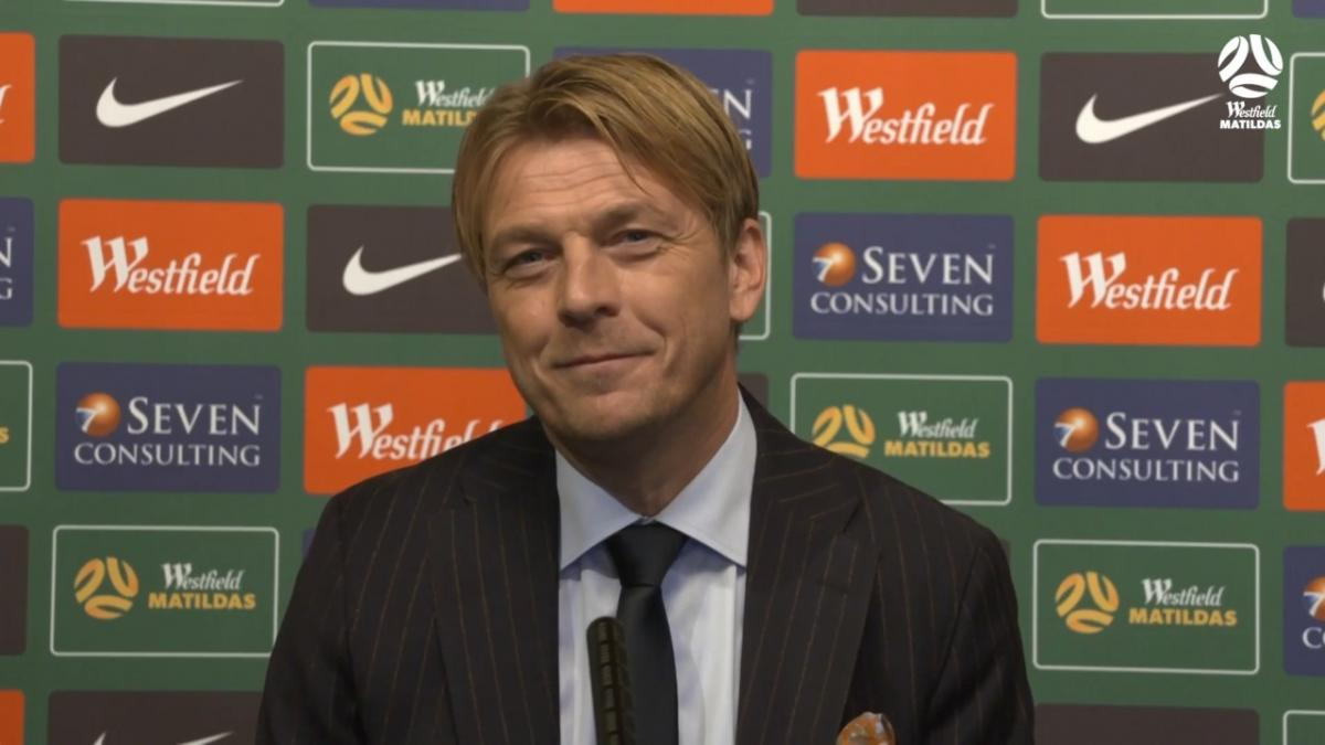 Tony Gustavsson's first press conference as Westfield Matildas coach