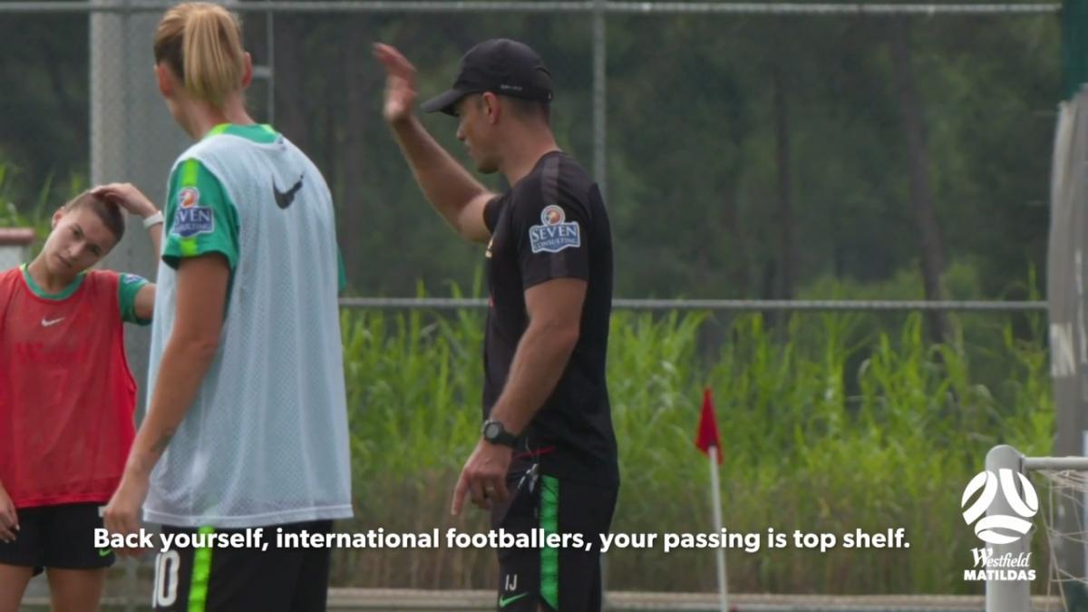 Matildas coaching staff mic'd up during training
