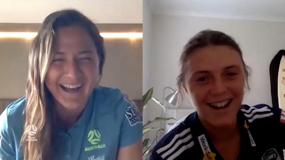 Former teammates Melina Ayres and Laura Brock  | Westfield W-League x Westfield Matildas