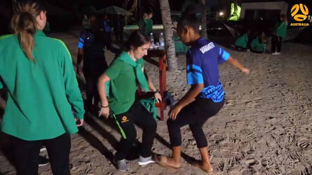 Westfield Junior Matildas hold a bbq with the Vanuatu U-19's