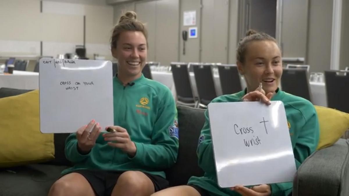 Team mates challenge: Alanna Kennedy, Mackenzie Arnold and Caitlin Foord
