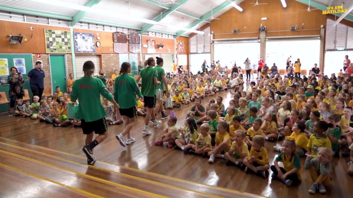 Westfield Matildas visit Maryland Primary School in Newcastle