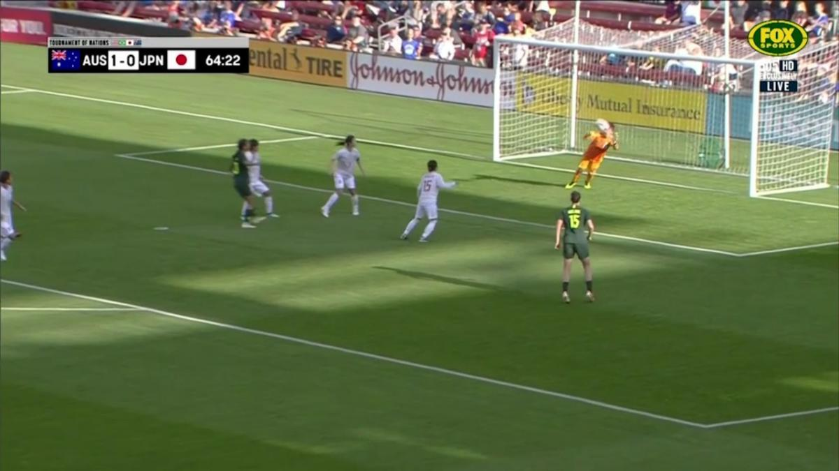 Sam Kerr looking dangerous in front of Goal