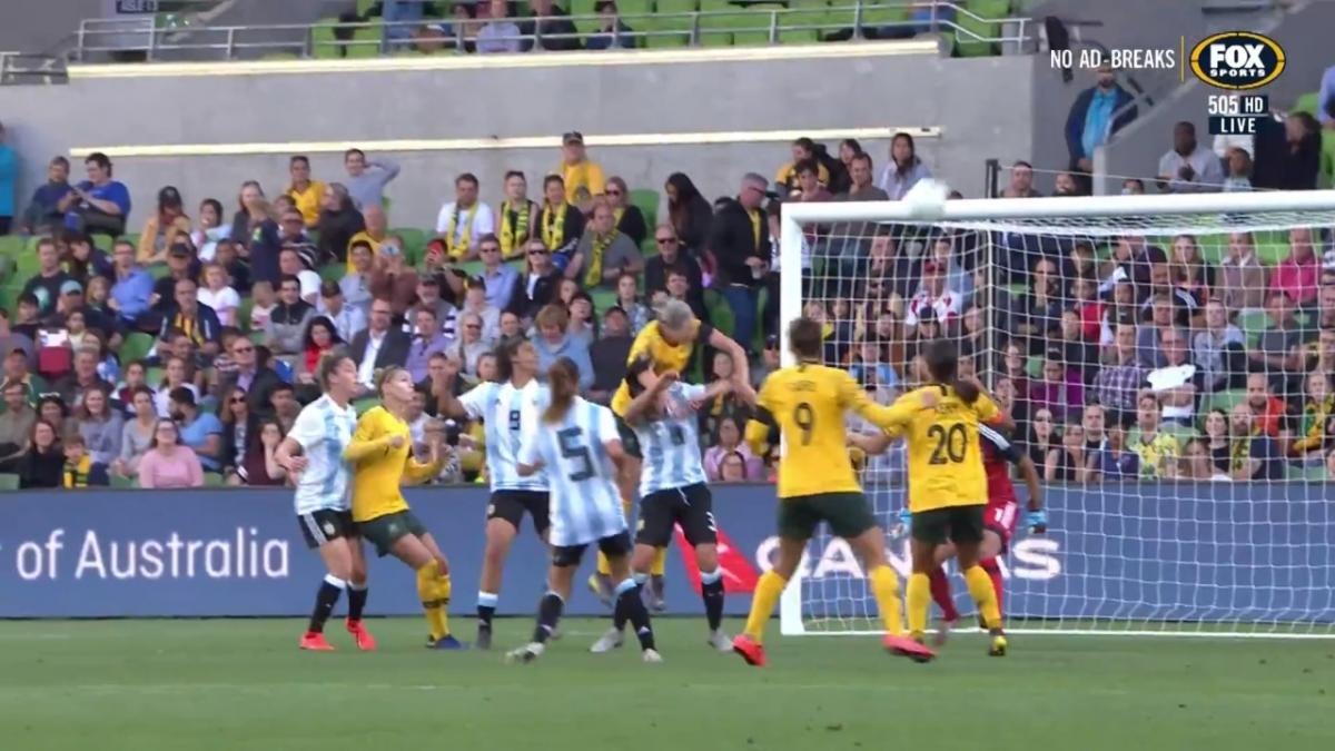 Alanna Kennedy doubles the lead for the Matildas