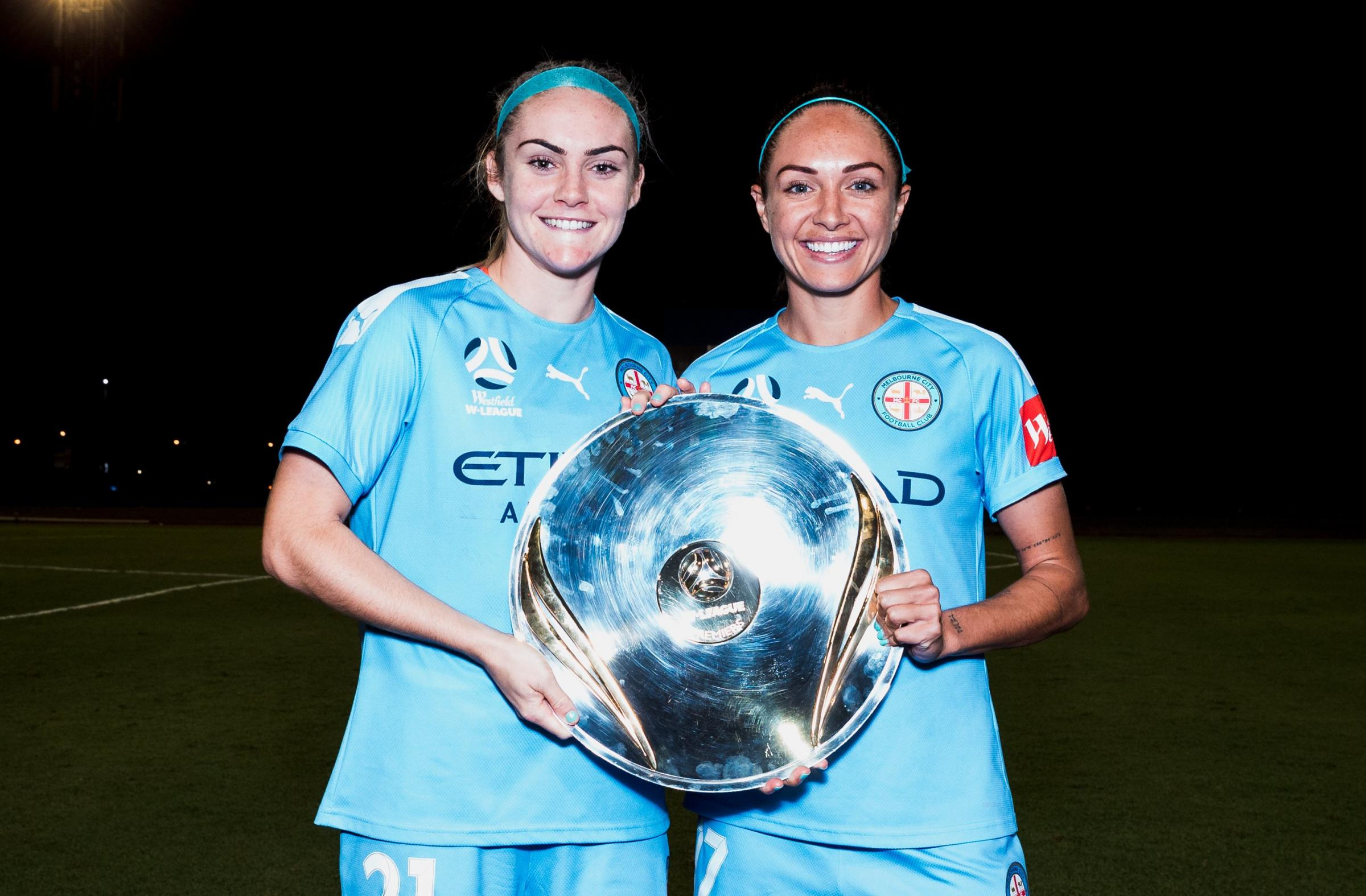 Ellie Carpenter and Kyah Simon with the Premiers' Plate