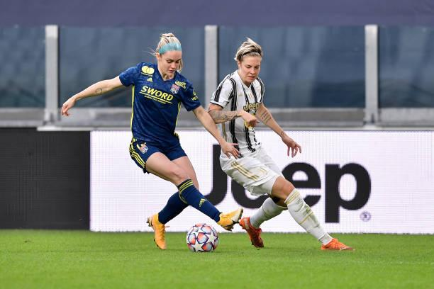 Ellie Carpenter takes on Juventus in the Champions League