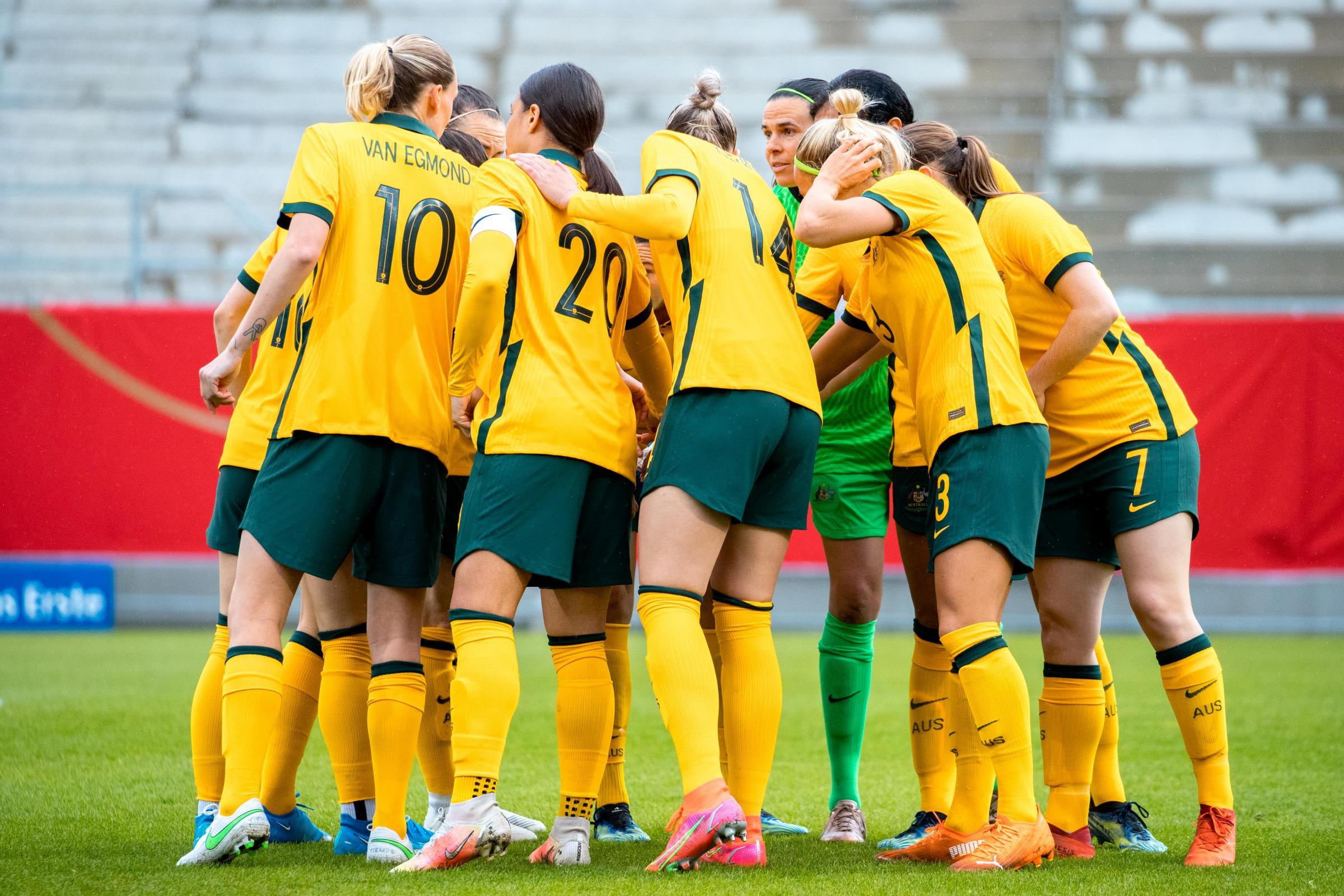 Matildas team huddle