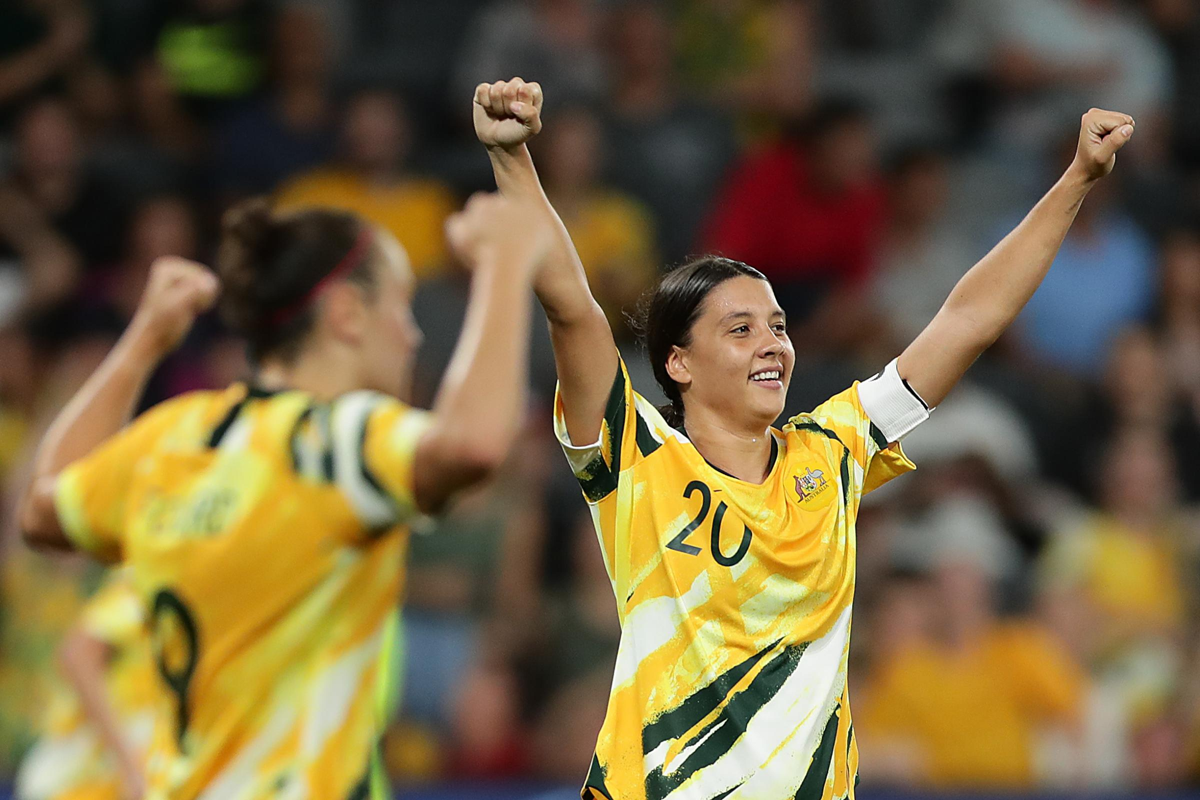 SYDNEY, AUSTRALIA - FEBRUARY 13: Sam Kerr of the Matildas celebrates at the final whistle during the Women's Olympic Football Tournament Qualifier between Australia and China PR at Bˆˆankwest Stadium on February 13, 2020 in Sydney, Australia. (Photo by Mark Metcalfe/Getty Images)