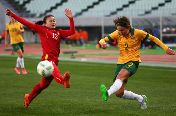 Ashleigh Sykes playing for the Westfield Matildas.