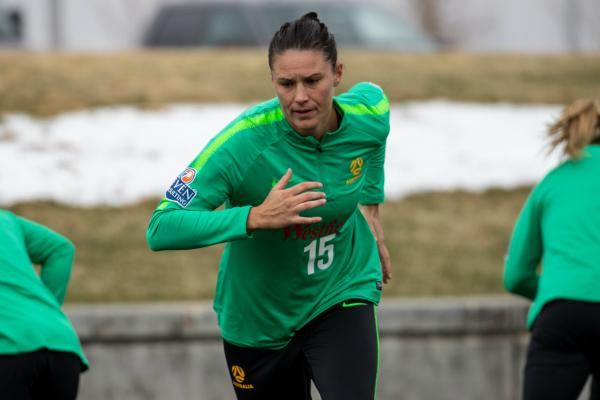 Emily Gielnik strides out during Westfield Matildas training in Denver