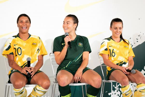 Sam Kerr, Caitlin Foord and Hayley Raso in the new Westfield Matildas kit.