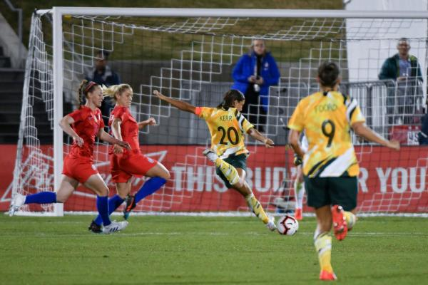Sam Kerr of Australia shoots for Westfield Matildas against USA