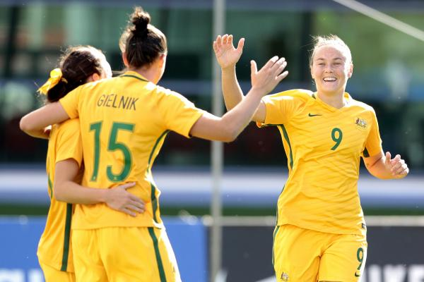 The Westfield Matildas celebrate one of Emily Gielnik's two first-half goals