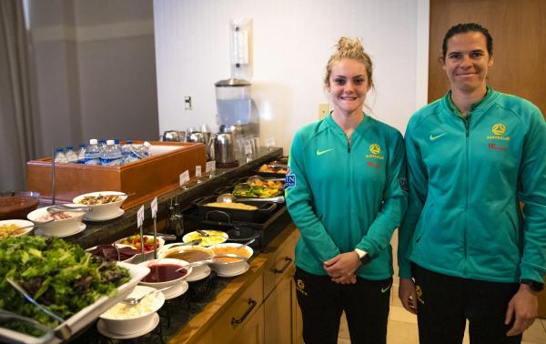 Westfield Matildas Ellie Carpenter and Lydia Williams