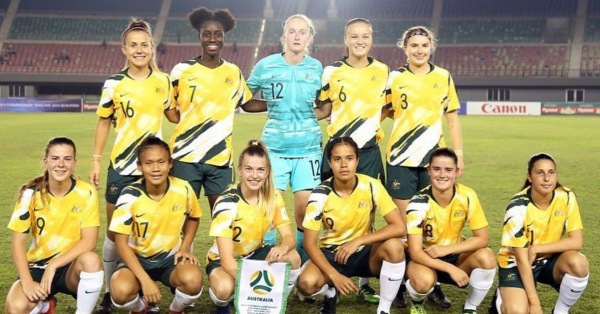 Westfield Young Matildas line up before Nepal clash