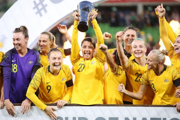 Caitlin Foord and Sam Kerr with Cup of Nations