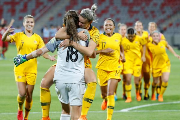 The Westfield Matildas celebrate their win over Thailand at the 2018 Asian Cup