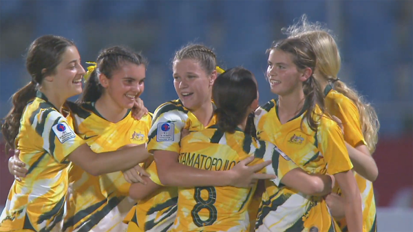 Junior Matildas celebrate