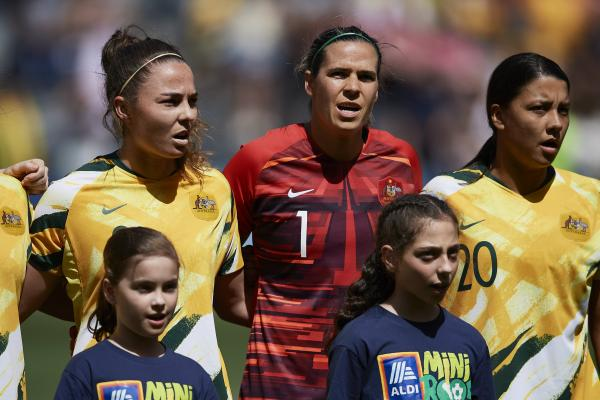 Jenna McCormick (left) made her Westfield Matildas debut against Chile on Saturday