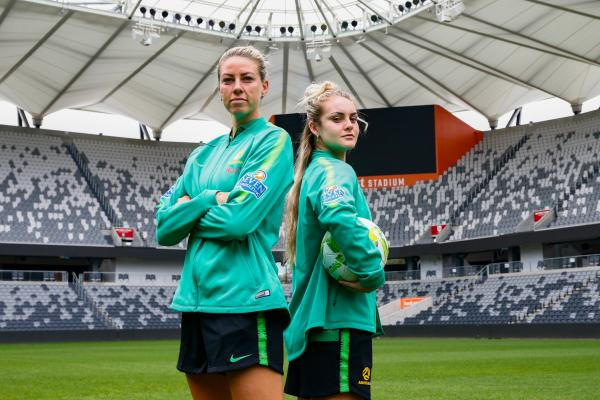 Alanna Kennedy and Ellie Carpenter at Bankwest Stadium