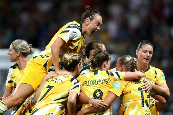 Matildas celebrate a goal