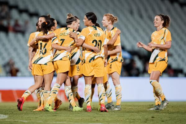 Goals galore! Westfield Matildas celebrate one of their seven goals against Chinese Taipei