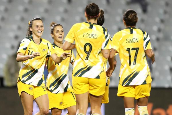 Hayley Raso and Matildas celebrate
