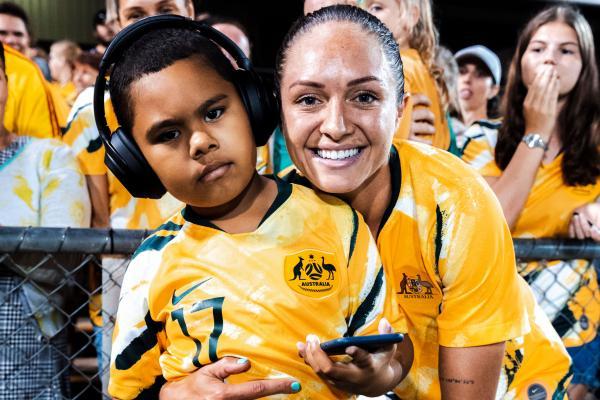 Westfield Matildas star Kyah Simon with her nephew Trey