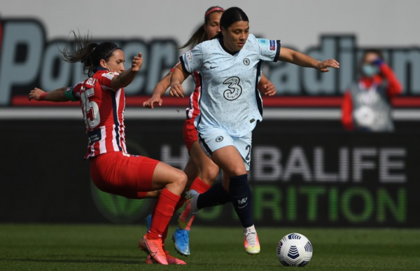 Sam Kerr plays against Atletico Madrid in the second leg of their round of 16 champions league tie