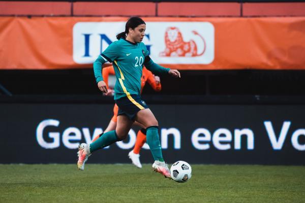 Sam Kerr on the ball vs Netherlands