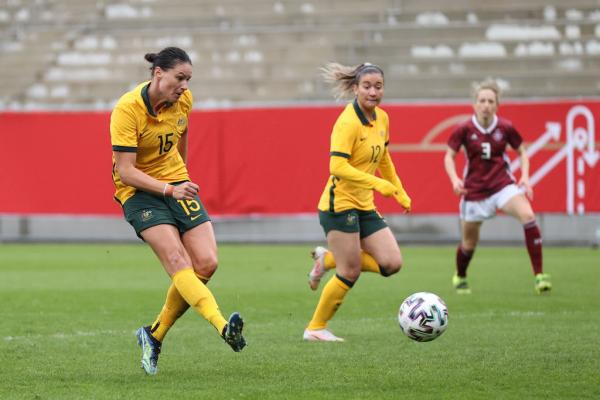 Emily Gielnik takes a shot against Germany