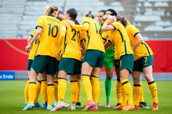 Matildas team huddle