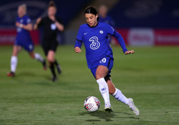 Sam Kerr on the ball against Everton FA Cup