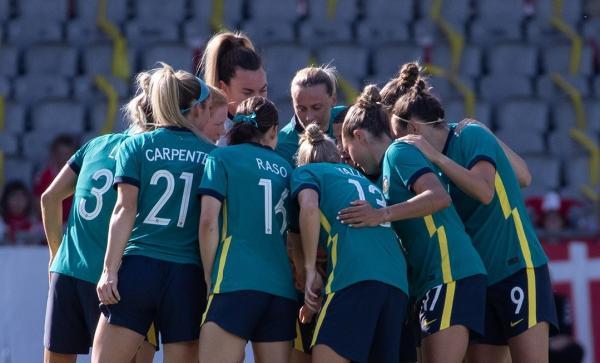 Team huddle before the Australia v Denmark friendly
