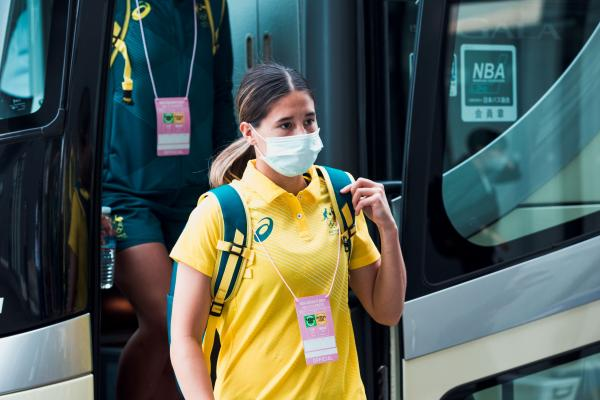 Kyra Cooney-Cross getting off the team bus in Kyoto