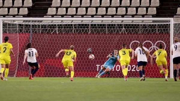 Teagan Micah saves Caroline Weir's penalty at the Olympics