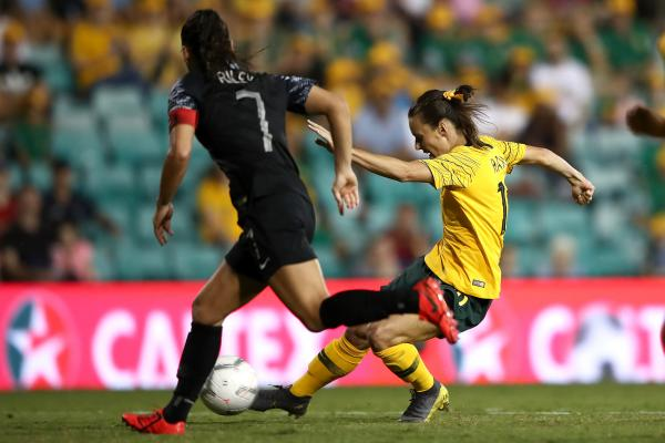 Hayley Raso of the Matildas kicks a goal during the Cup of Nations match between the Australian Matildas and New Zealand Football Ferns at Leichhardt Oval on February 28, 2019 in Sydney, Australia. (Photo by Cameron Spencer/Getty Images)