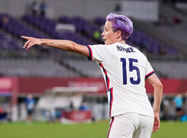 Megan Rapinoe of USA gestures in the Women's First Round Group G match between Sweden and United States during the Tokyo 2020 Olympic Games at Tokyo Stadium on July 21, 2021 in Chofu, Tokyo, Japan. (Photo by Berengui/DeFodi Images via Getty Images)